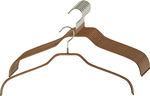 MAWA 10 grucce appendiabiti salvaspazio e antiscivolo, per camicie e camicette, girevoli a 360°, rivestimento antiscivolo di alta qualità, 41 cm, in rame