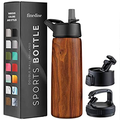 Triple Insulated Stainless Steel Water Bottle with Straw Lid - Flip Top Lid - Wide Mouth Cap (26 oz) Insulated Water Bottles, Keeps Hot and Cold - Great for Hiking & Biking (Rustic Grained Sienna)