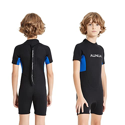 Aunua Children's 3mm Youth Swimming Suit Shorty Wetsuits Neoprene for Kids Keep Warm(BlackBlue 8)