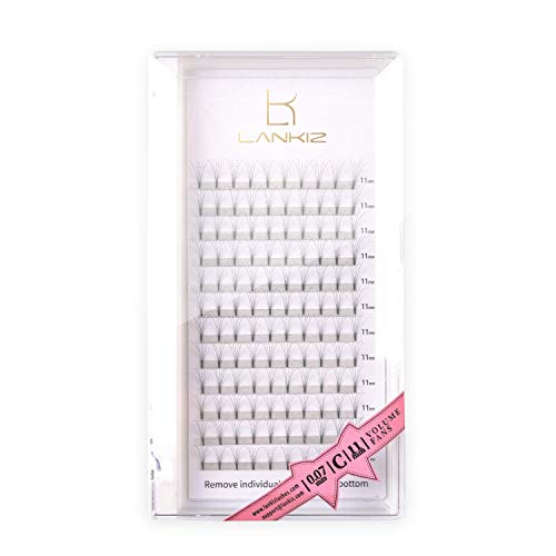 LANKIZ 5D Russian Lashes Volume Fans 0.07mm C Curl 15mm Individual Eyelash Extensions,Cluster Lashes for Salon and Lash Artist