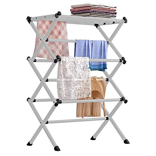 FKUO Household Indoor Folding Clothes Drying Rack Dry Laundry and Hang ClothesTowel Rack Silver Gray