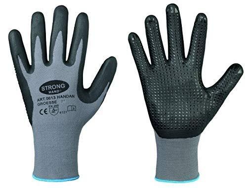 Handschuh HANDAN genoppt nahtlos EN388 flexibel griffig Arbeitshandschuh Noppen (6, Einzeln (1 Paar))