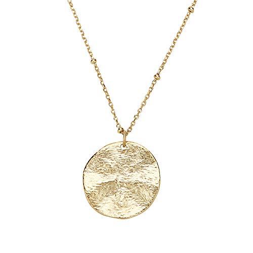 NOELANI Collar con colgante para mujer, plata 925 chapada en oro, cadena fantasía con moneda de longitud ajustable
