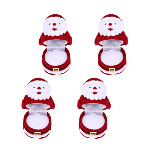 Amosfun 4Pcs Christmas Ring Box Flannel Santa Claus Necklace Box Jewelry Storage Box Gifts Case For Ring Engagement Wedding Gift (Red)