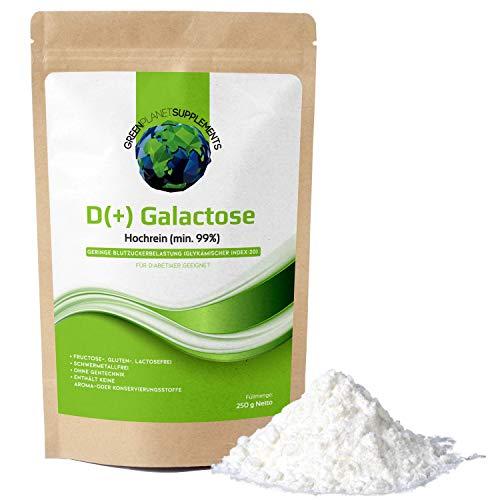 D+ Galactose Pulver 250g - Der Zuckerersatz für Allergiker, Diabetiker, Sportler, Babys und Säuglinge - Hochrein min. 99% - Ohne Gentechnik - Frei von Aroma- und Konservierungsstoffen