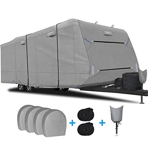 RVMasking Upgraded 6 Layers Top Travel Trailer RV Cover Waterproof Camper Cover for 24'1'...