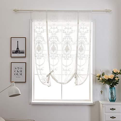 Qucover Raffrollo Weiß Transparente Scheibengardine Küche Bistrogardine Stickerei Gardine BxH: 80x120 cm