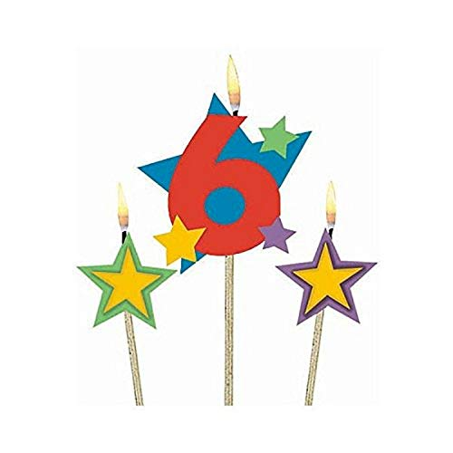 #6 Decorative Pick Candles, Amscan Birthday Celebration -$4.10(65% Off)