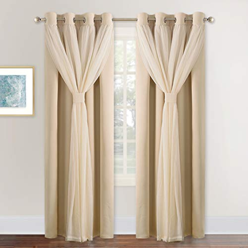 NICETOWN Double-Layer Mix & Match Dressing Biscotti Beige Sheer Plus Blackout Curtains for Girls Bedroom/Living Room, Window Treatment Cortinas para sala (1 Pair, 95 inchs, Tie Backs Included)