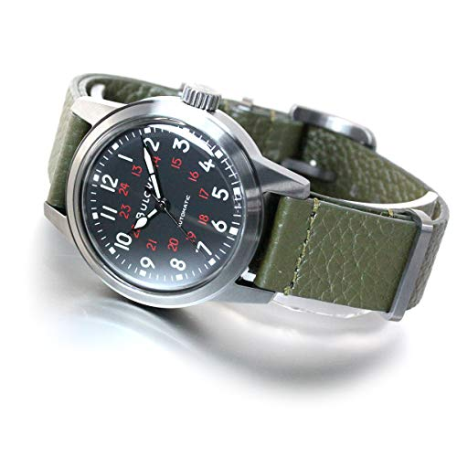 Bulova Unisex Analog Automatisch Uhr mit Echtes Leder Armband 98A255