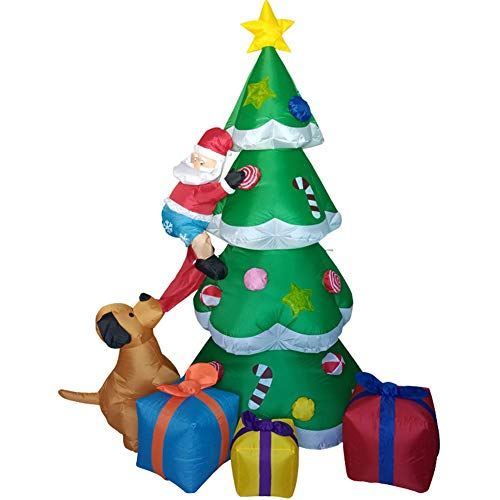 WZM Clothing Christmas Tree and 5 Packages with LED Christmas Inflatable 240cm Tall Seasonal Decoration Outdoor Airblown Lawn Ornament Garden Adults