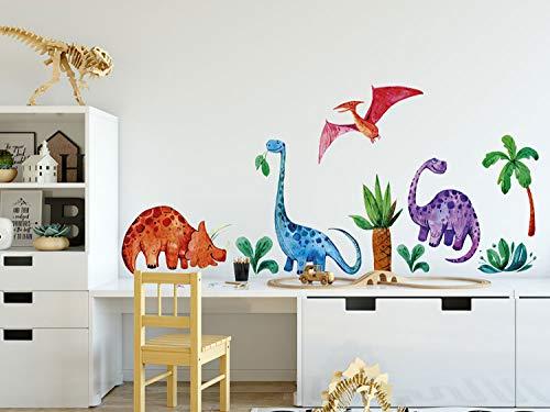 GRAZDesign Wandtattoo Dinosaurier für Kinderzimmer, Geschenk zum Geburtstag, Babyzimmer Jungen Jungs Bogengröße 80x57cm