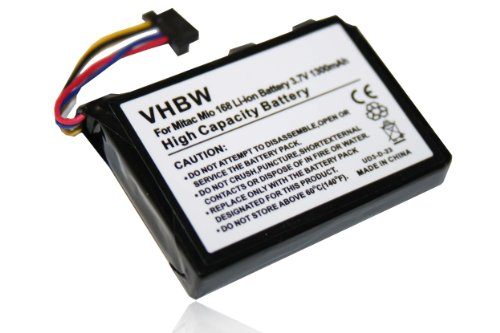 vhbw Akku passend für Typhoon MyGuide Navigator 6500 XL, BlueMedia PDA 255, ADAC BlueMedia PDA, Navman Pin Pocket PC 3500GO Navi 1300mAh, 3.7V, Li-Ion