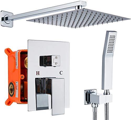 Sistema de ducha de lluvia de 30,5 cm con alcachofa de ducha de cromo pulido, juego combinado con ducha de mano para montar en la pared, mezclador de equilibrio de presión, grifo...