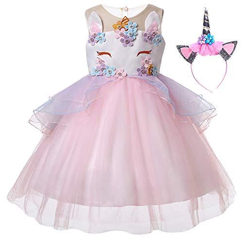 Yigoo Einhorn Mädchen Prinzessin TüTü Kleider Kostüm Abendkleider Cocktailkleid Karneval Kosplay...