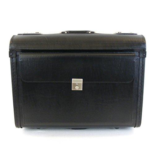 Dermata Sintetica valigia da pilota su rotelle - Trolley - sintetico - nero