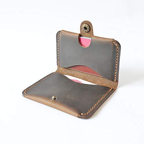 EMOHKCAB Handgemaakte lederen heren ID creditcard portemonnee Designer Retro portemonnee voor creditcards Minimalistische portemonnee kaarthouder