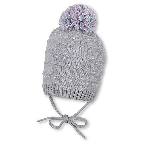 Sterntaler - baby meisje gebreide muts gevoerd katoenen muts harten wintermuts om te binden met pompon, zilvergrijs - 4701900