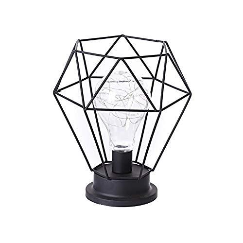 Metall Tischlampe, Diamond Form Nachttischlampe Stehlampe, Batteriebetrieben Nordic Style Eisen Schreibtischlampe Kreativ Nachtlicht Dekorative Beleuchtung Für Schlafzimmer, Hotel Comfortable,Schwarz