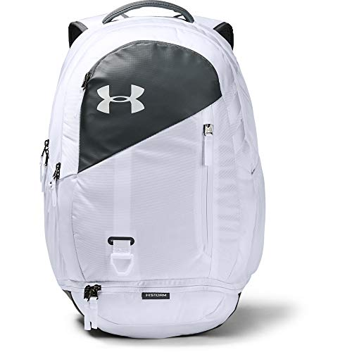 Under Armour Unisex Hustle 4.0 Backpack, White (100)/Pitch Gray, One Size Fits All