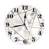 Mailine Reloj de Pared Redondo de mármol con Reloj de Pared Redondo geométrico Silencioso sin tictac Funciona con Pilas Fácil de Leer Arte Decorativo del Reloj