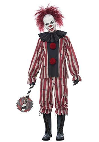 California Costumes Nightmare Clown Adult Costume-X-Large, Black/Red/Cream