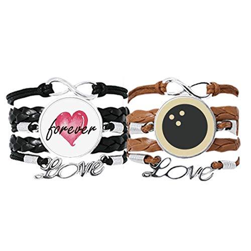 Bestchong Bowling Sport Armband mit einfachem geometrischem Muster, Handschlaufe, Lederseil, Forever Love, Armband, Doppelset