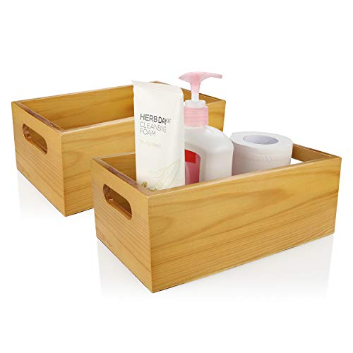 A+Selected 2 Packs Pine Wood Organizer Open Box with Handles, Toilet Wooden Storage Box for Bathroom and Kitchen.