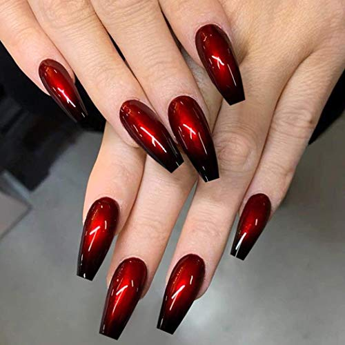 Outyua Ombre Extra Long Press on Nails Coffin Ballerina Gradeint Fake Nails Super Long False nails Acrylic Halloween Christmas Nails for Women and Girls 24Pcs (Red & Black)