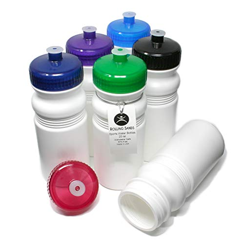 Rolling Sands 20 Ounce Sports Water Bottles 6 Pack, BPA-Free, Made in USA, Dishwasher Safe, White Bottles/Variety