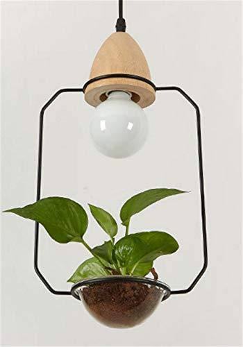 Art Deco Led Plant Hanglamp met Hout Base E27 Creatieve Rustieke Pot Cultuur Hanglamp voor Eetkamer Cafe Bar Restaurant Zwart
