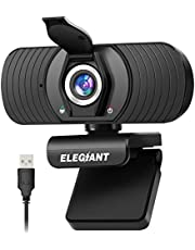 Webcam ELEGIANT webcamera 1080P HD PC-webcam met microfoon en privacybescherming, USB-computercamera voor Skype FaceTime YouTube online studieBellen gaming-pc laptop desktop Macbook