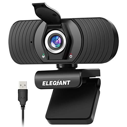 ELEGIANT Webcam Webkamera 1080P HD PC Webcam mit Mikrofon und Datenschutzabdeckung USB-Computerkamera für Skype FaceTime YouTube Online-Studienanruf Gaming-PC Laptop Desktop MacBook