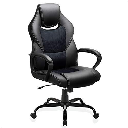 BASETBL Bürostuhl Racing Stuhl Gaming Stuhl Sessel Schreibtischstuhl Ergonomisch Drehstuhl Sportsitz bürostuhl mit Rückenlehne, Wippfunktion, Höhenverstellung, gepolsterter Armlehne Chefsessel Schwarz