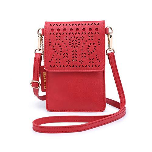 seOSTO Crobody Cell Phone Purse for Women, Small Crossbody Phone Bag, Red Handbag Cruelty-Free