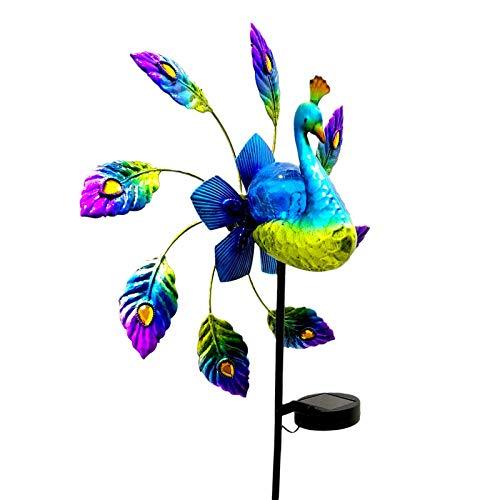 Gartendeko Pfau solarlampen Windmühle Garten Dekor, wetterfest Schmiedeeisen gemalt wasserdichte Pfau Wetterfahne Garten Pfahl für außen für Terrasse/Garten Rasen/Balkon deko