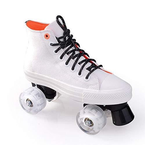 Pinkskattings@ Leinwand Rollschuhe Für Kinder Und Jugendliche Mit 4 Rollen Roller Skates Disco Roller Skate Indoor Outdoor, Komfortable Roller-Skates Für Mädchen Und Jungen,Weiß,42