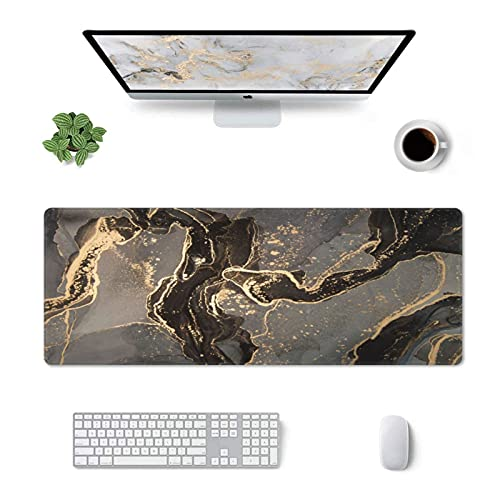 Black Marble Gaming Mouse Pad 31.5×11.8 Inch with Stitched Edges Extended Waterproof Gold Desk Pads Non-Slip Rubber Base Large Keyboard Mat Computer Gaming Mousepad for Work/Office/Home