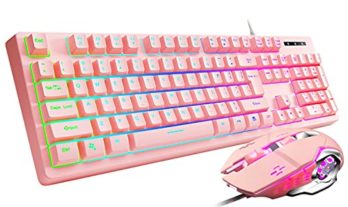 Gaming Keyboard and Mouse Combo Pink, Loreran Gaming Keyboard LED Colorful Lights Backlit Wired Pink Keyboard Kawaii and Cute Keyboard Adjustable Light up Keyboards for Mac/PC/Laptop/Win7/Win8/Win10