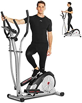 Ancheer Magnetic Elliptical Training Machine with Pulse Rate Grips