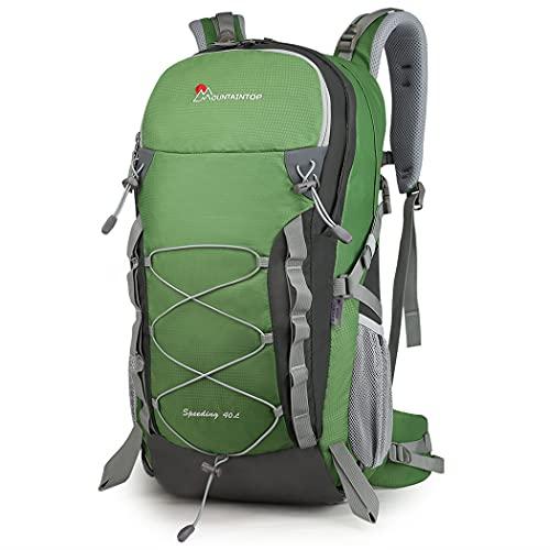 MOUNTAINTOP Zaino Trekking di 40 Litri Zaino da Montagna per Donna e Uomo Zaini da Viaggio Impermeabile con Copertura della Pioggia per Escursionismo Alpinismo Campeggio Verde