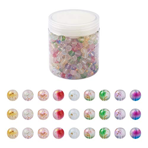 Acerca de 414 ~ 504 unids/caja de cuentas de vidrio pintado en aerosol 8 ~ 9 mm 9 colores Crackle vidrio redondo cuentas sueltas con lámina dorada agujero: 1.2 ~ 1.5mm