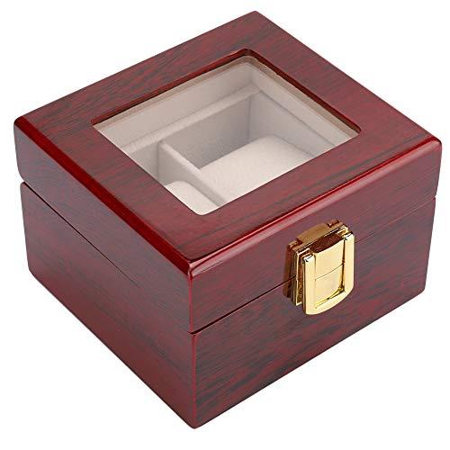 ZJchao - Caja para Relojes de Madera con 2 Rejillas, Caja de Almacenamiento para Relojes, Caja de Regalo para Parejas, Anillos, Pendientes, Collares.