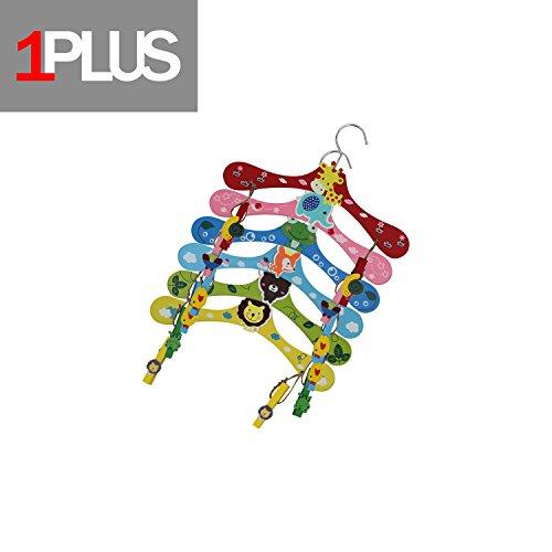 1PLUS Hochwertige Kinder Kleiderbügel im praktischen 6er Spar-Set - Holz-Kleiderbügel in tollen Tier-Looks (Tiere inkl. Klammern)