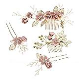STOBOK Set of 4 Peine nupcial del pelo, vintage perlas flores peine pinza, accesorios para cabello para novias y damas de honor - flor pink