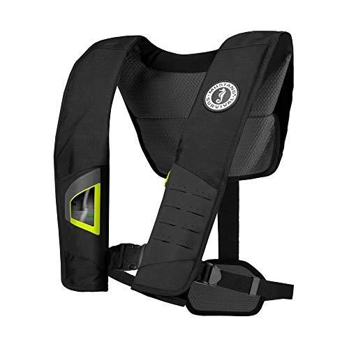 MUSTANG SURVIVAL - DLX 38 Automatic Inflatable PFD - (Black-Fluorescent Yellow Green - One Size Fits All) - Reduce Pressure Points, Dual Size Adjusters, 38LB Buoyancy, Reflective