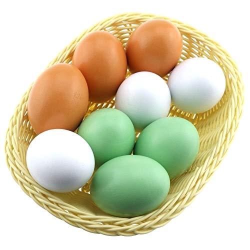 LANGPIAOEZU Realista 9pcs Falso de Madera Huevos Artificiales de la decoración de Alimentos for el Juego de Cocina Acostado Gallinero Pintado Juguete Pintada Natural (Color : Multi-Colored)