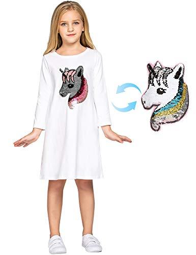 Bricnat - Vestido para niña de manga larga y manga corta, de algodón, con diseño de unicornio, informal, con lentejuelas, con estampado de corazón, ideal para otoño y verano 1 blanco. 41