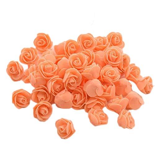 Vi.yo 50x Kunstblumen Rosen Unechte Blumen Foamrosen Schaumrosen Schaumköpfe Party Hause Dekor künstliche Rosen Rosenköpfe 3-3.5cm Orange