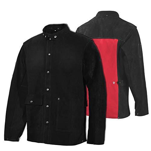 Leather Welding Jacket - Heat & Flame-Resistant Heavy Duty Split Cowhide Leather FR Work Safety Jacket (Medium)